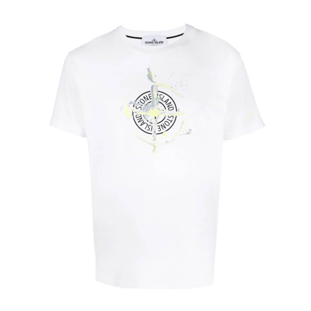 SPRING SUMMER 2021 Stone IslandLogo-Print T-Shirt Τυπωμένο λογότυπο Στρογγυλή λαιμόκοψη Κοντά μανίκια Μέγεθος δείγματος: M Σύνθεση: 100% Βαμβάκι