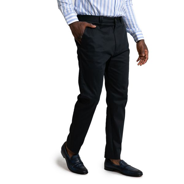 Blue Slim Fit Cropped Trousers