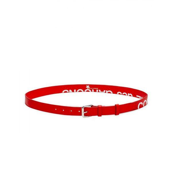 Cut-Off Logo Leather Belt/Red