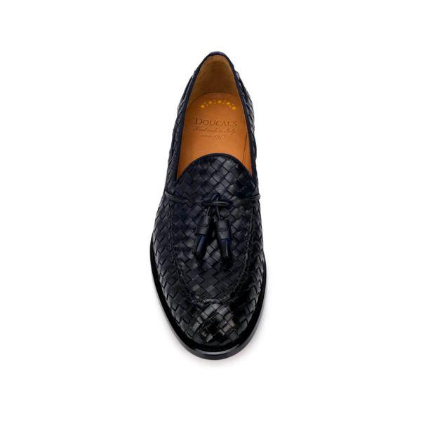 Tassel-Embellished Woven Loafers/Black