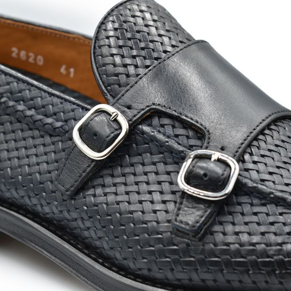 Dark Blue Woven Monk Shoes