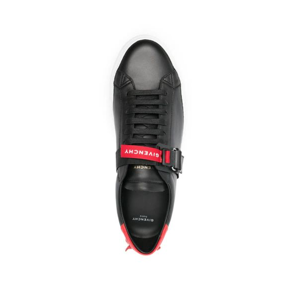 Strap-Detail Leather Sneakers