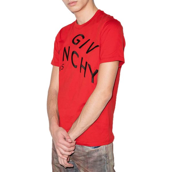Refracted-Design Logo-Embroidered T-Shirt/Red