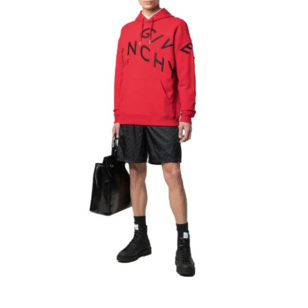 Refracted Logo Embroidery Hoodie/Red