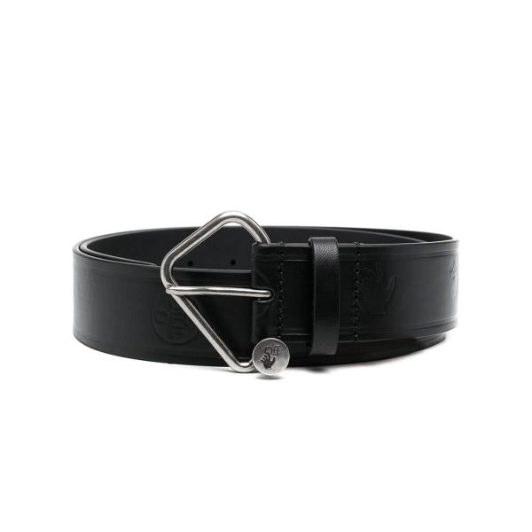 Black Embossed-Logo Leather Belt