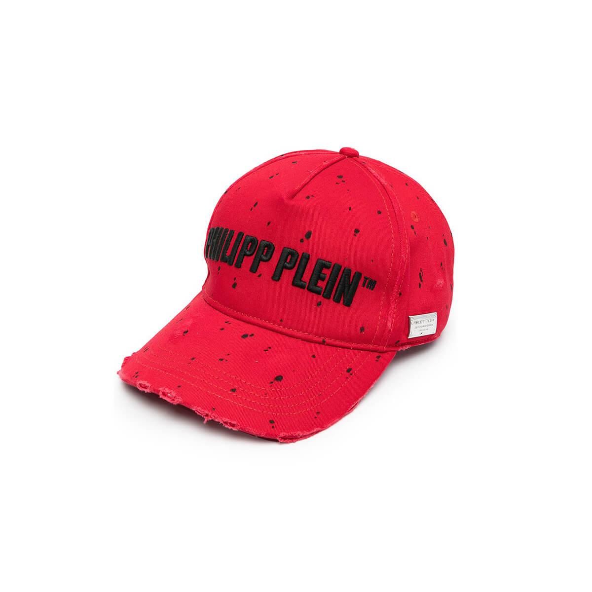 Philipp Plein PAINTED LOGO BASEBALL CAP/RED